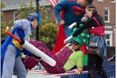 Our Playhouse Movie Theatre cast of superheroes, representing our local heroes, defeats COVID-19 by vaccine. Photo credit: Bob Eddy, replicated from Herald 7/8/2021